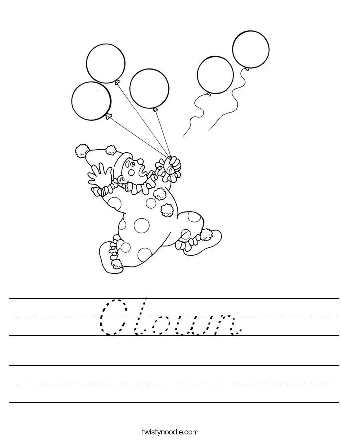 Clown Worksheet - D'Nealian - Twisty Noodle