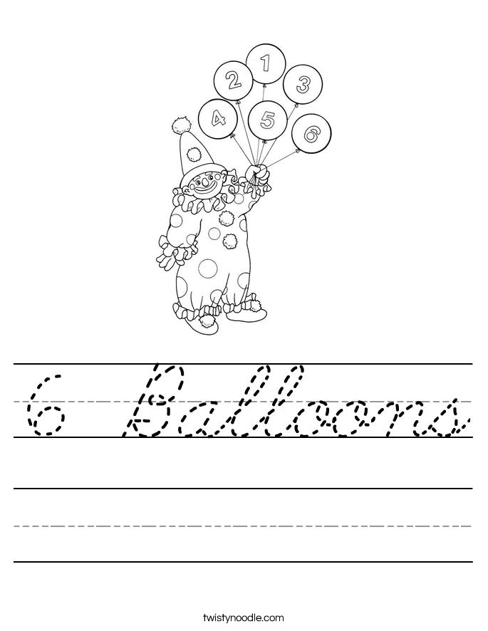 6 Balloons Worksheet