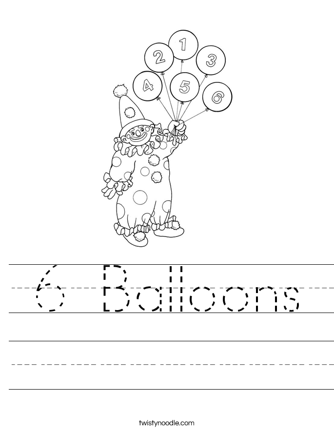 6 Balloons Worksheet