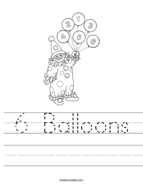 Clown with Number Balloons Worksheet