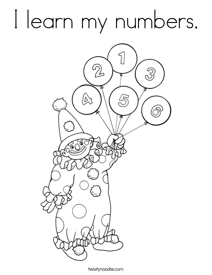 I learn my numbers. Coloring Page