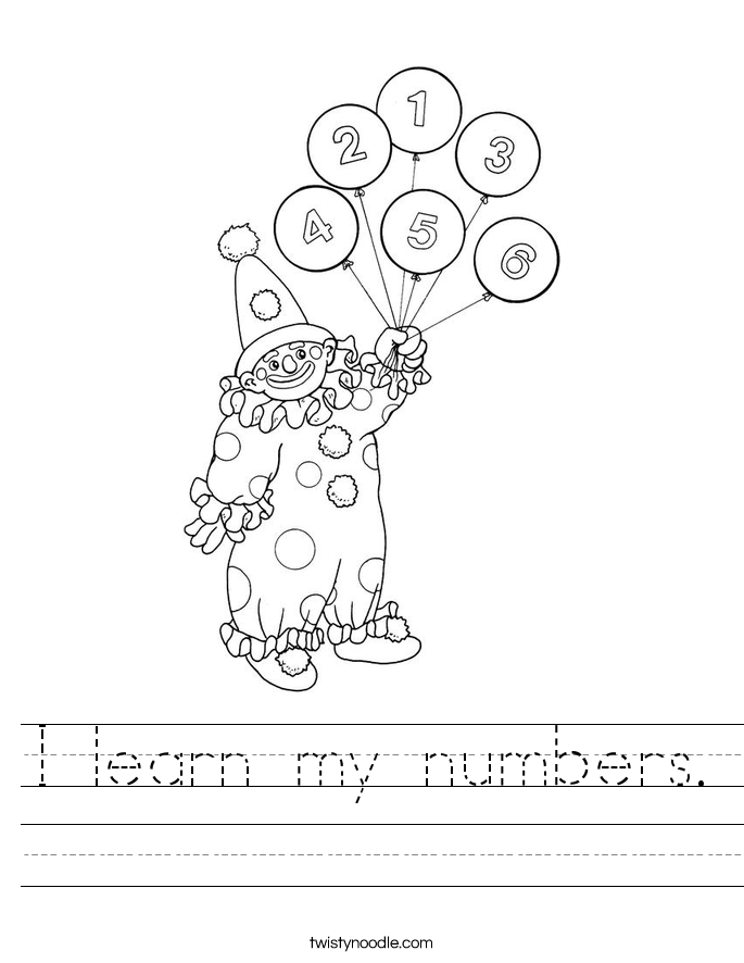 I learn my numbers. Worksheet