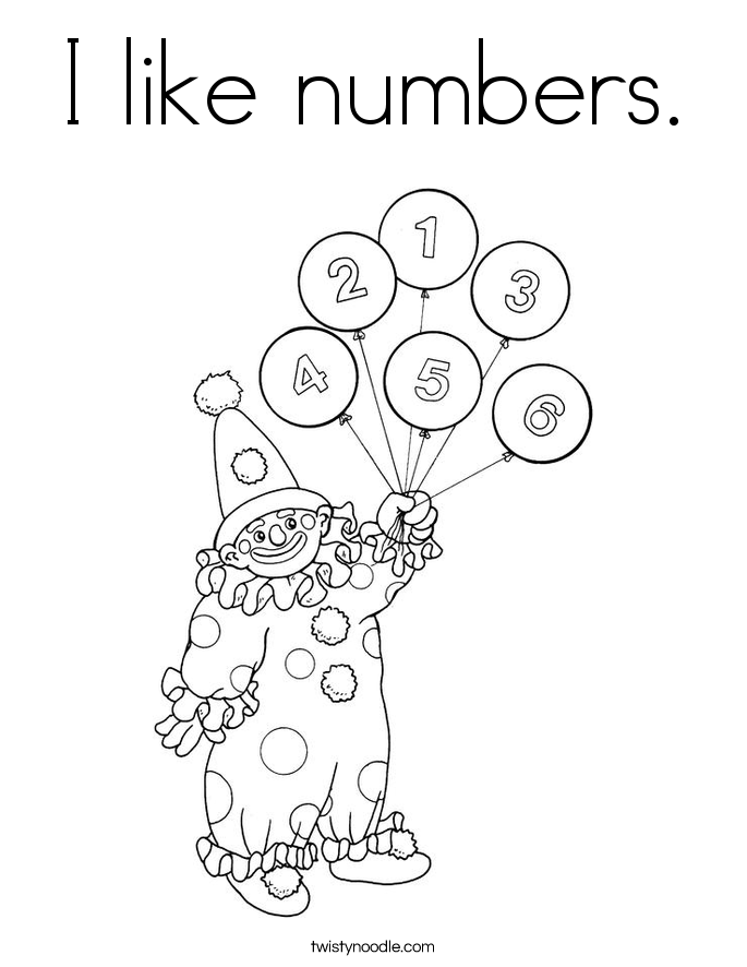 I like numbers. Coloring Page