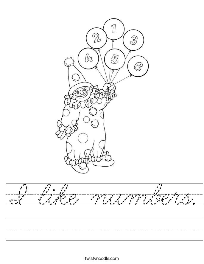 I like numbers. Worksheet