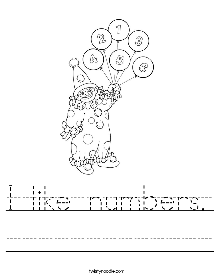 I like numbers. Worksheet
