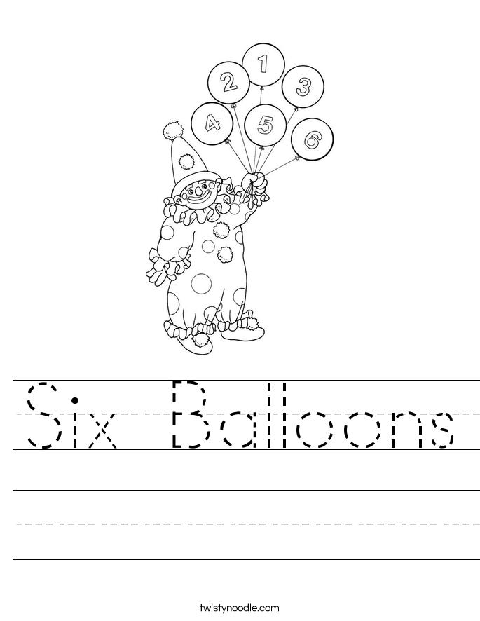 Six Balloons Worksheet