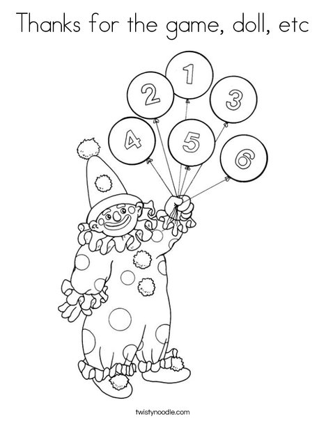 Clown with Number Balloons Coloring Page
