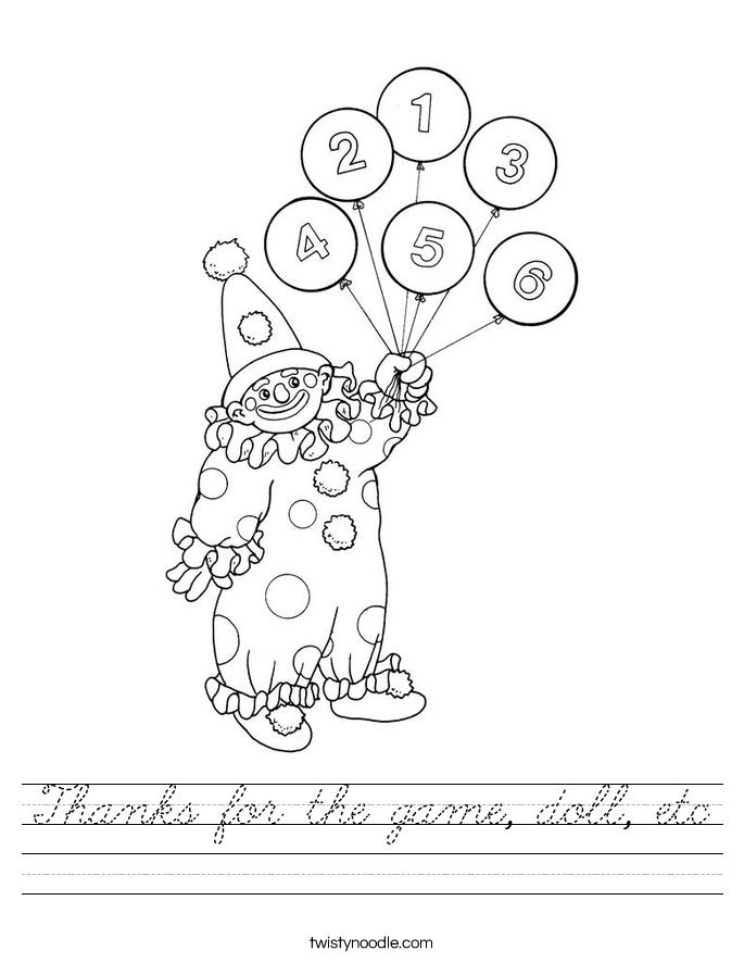 Thanks for the game, doll, etc Worksheet