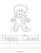 Happy Clown Handwriting Sheet