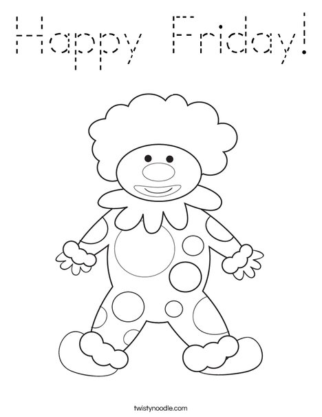 Happy Birthday Clown Coloring Page