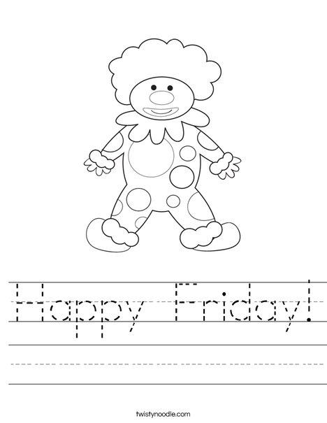 Happy Birthday Clown Worksheet