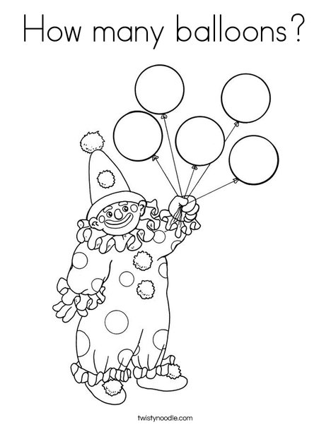 How many balloons Coloring Page - Twisty Noodle