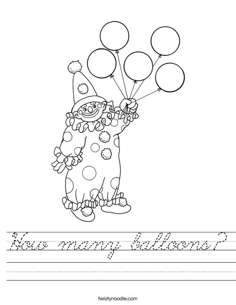 Clown Holding Balloons Worksheet