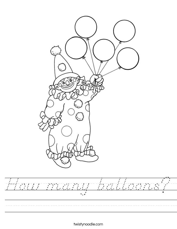 How many balloons? Worksheet