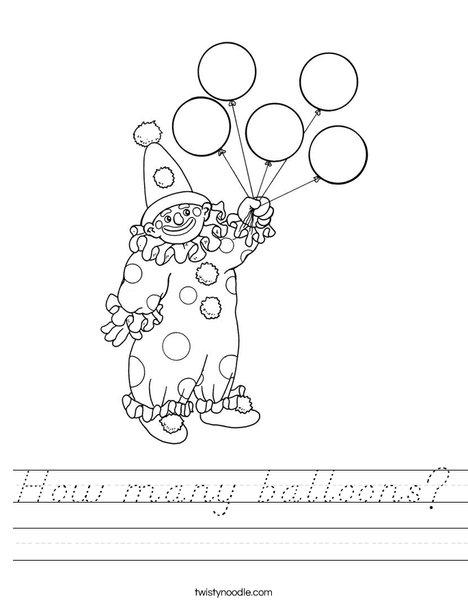 Clown Holding Balloons Worksheet