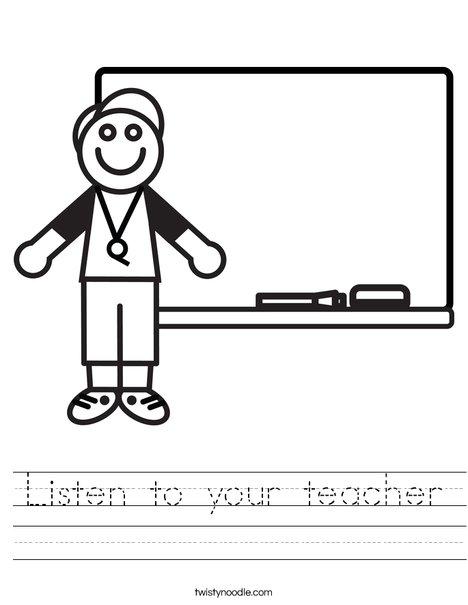 Listen to your teacher Worksheet - Twisty Noodle