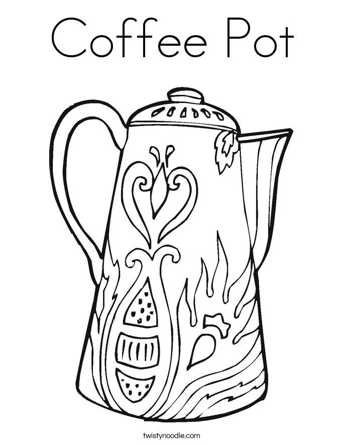 Coffee Pot Drawing Coffee Pot Coloring Page