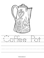 Coffee Pot Handwriting Sheet
