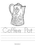 Coffee Pot Handwriting Sheet