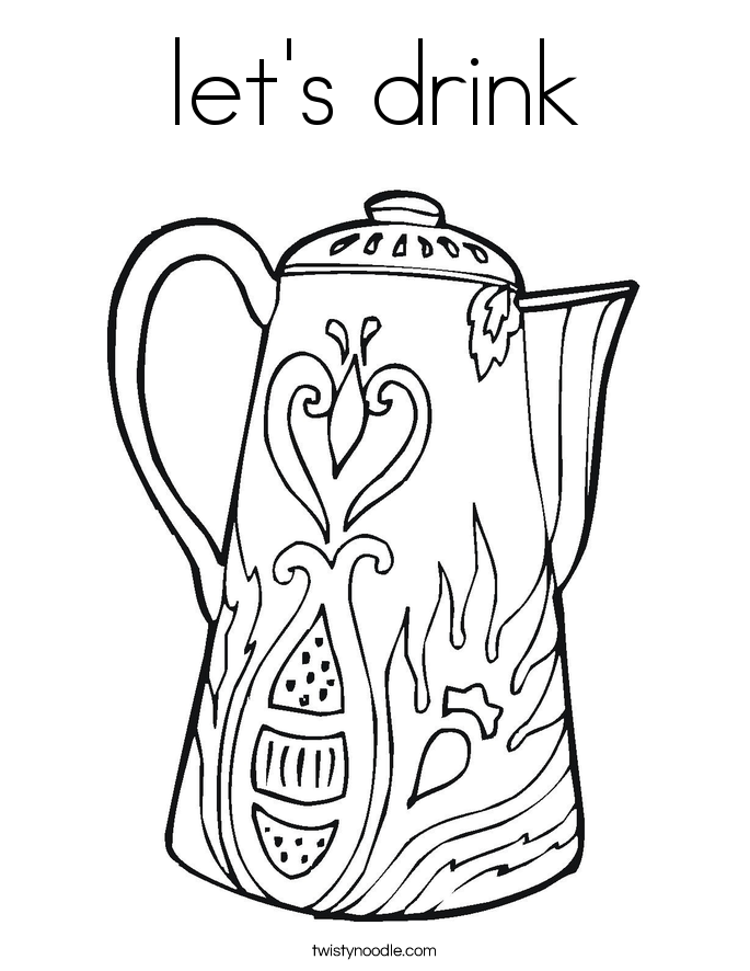 let's drink Coloring Page