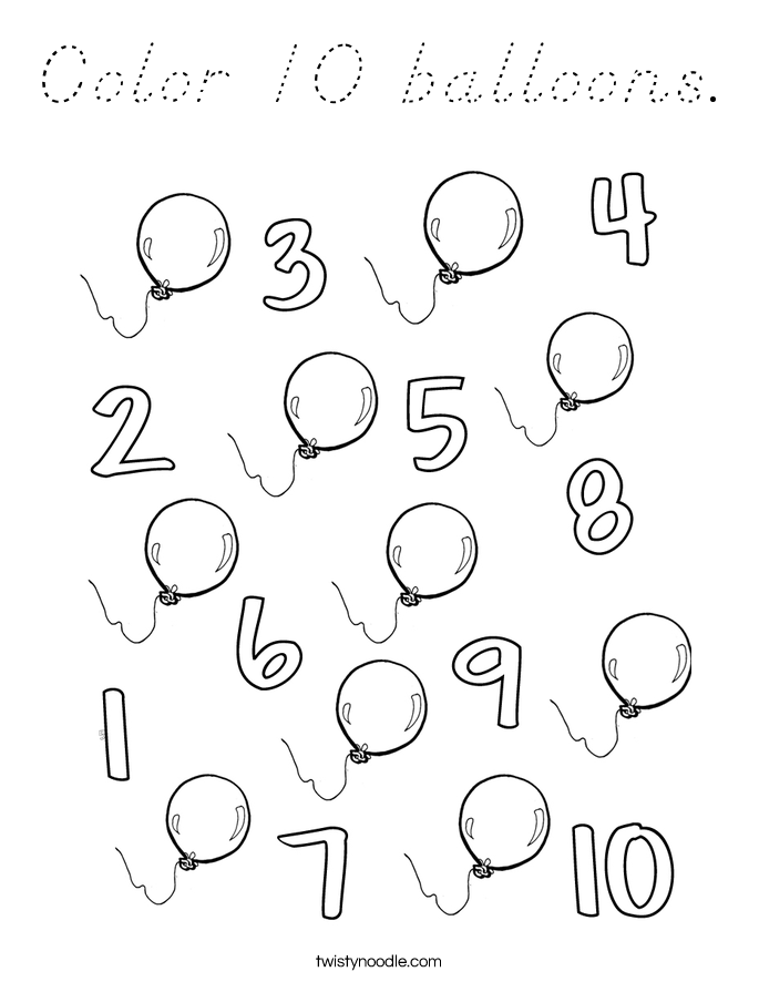 Color 10 balloons. Coloring Page