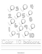 Color 10 balloons Handwriting Sheet