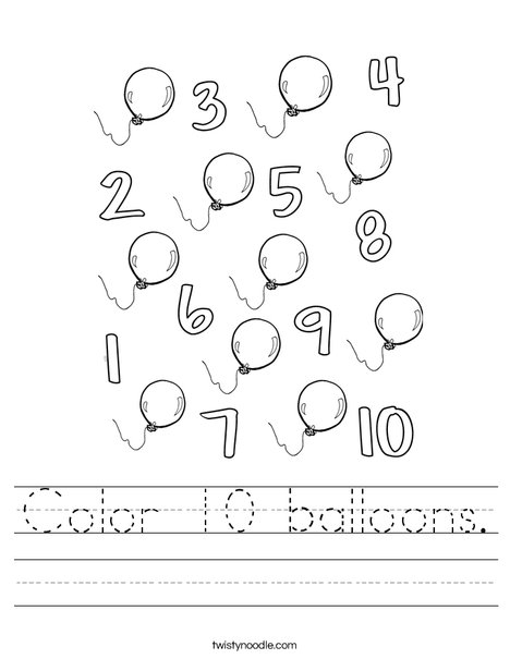 Color 10 balloons. Worksheet