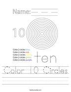 Color 10 Circles Handwriting Sheet