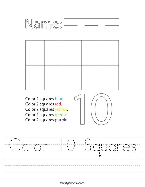 Color 10 Squares Worksheet