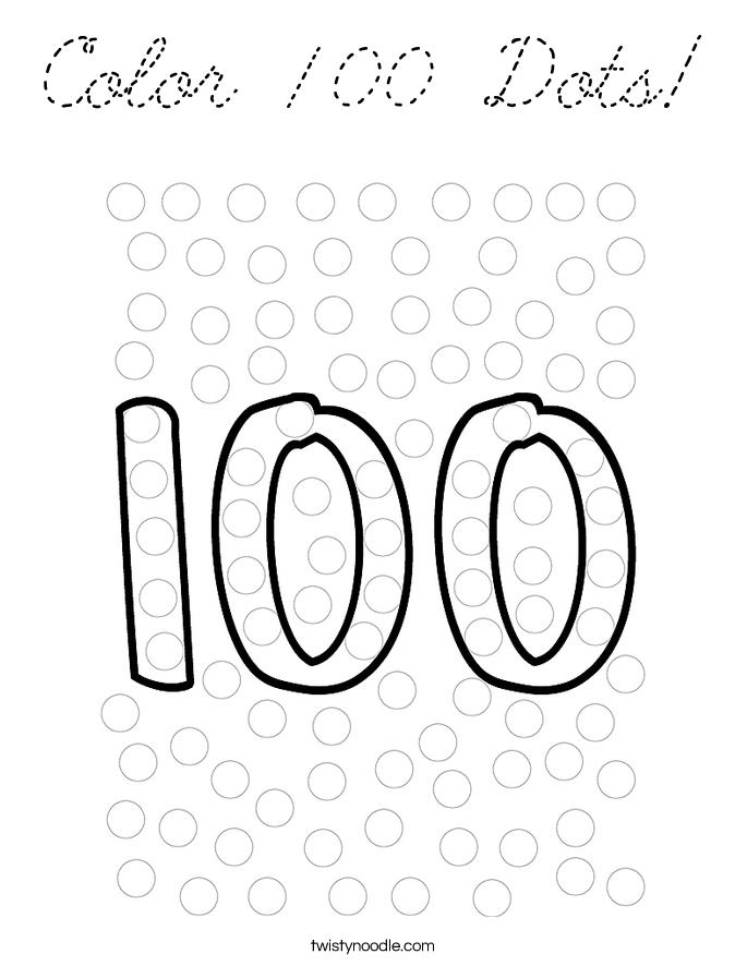 Coloring Page 100 : Color dots coloring page cursive twisty noodle