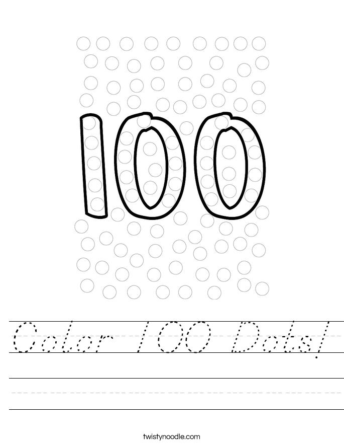 Color 100 Dots! Worksheet