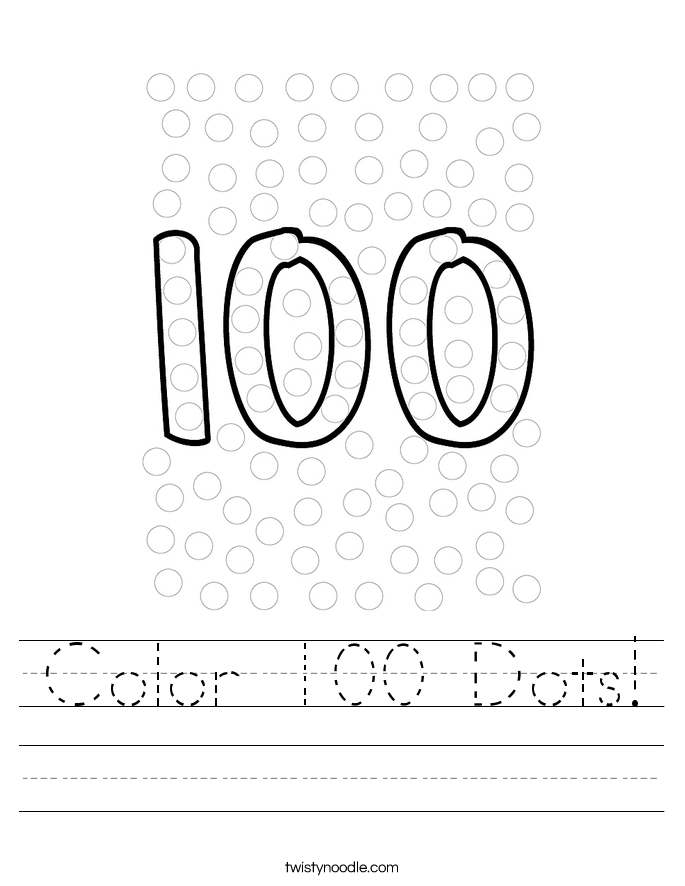 Color 100 Dots! Worksheet