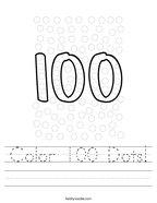 Color 100 Dots Handwriting Sheet