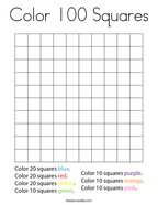 Color 100 Squares Coloring Page