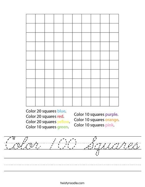 Color 100 Squares Worksheet