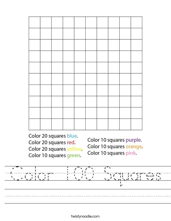 Color 100 Squares Worksheet