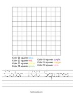 Color 100 Squares Handwriting Sheet