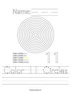 Color 11 Circles Handwriting Sheet