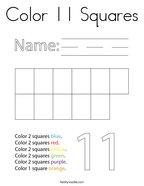 Color 11 Squares Coloring Page