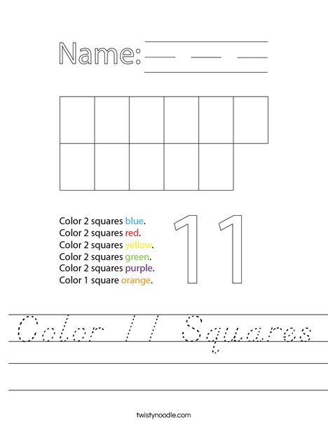 Color 11 Squares Worksheet