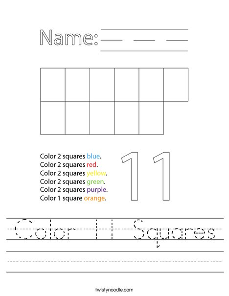 Color 11 Squares Worksheet
