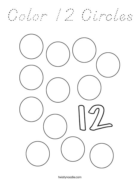 Color 12 Circles Coloring Page