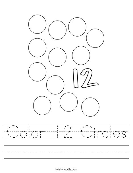 Color 12 Circles Worksheet