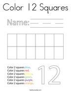 Color 12 Squares Coloring Page