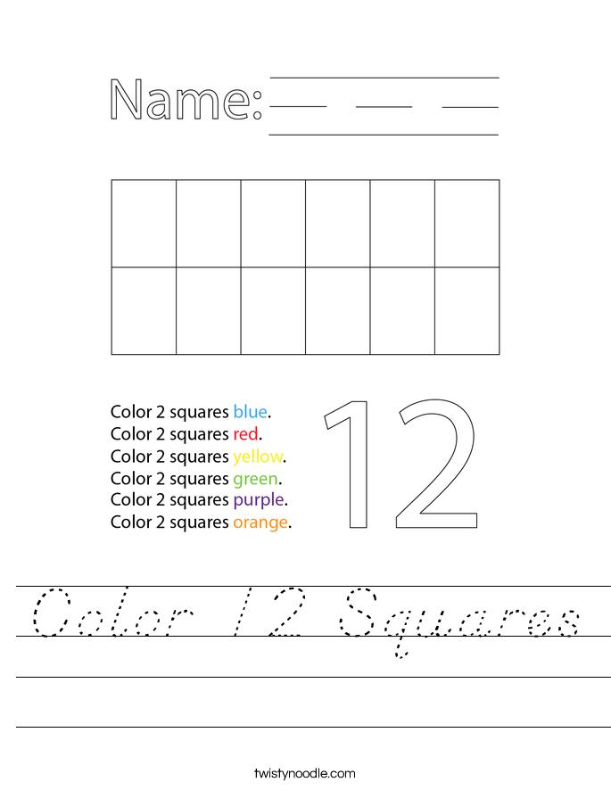 Color 12 Squares Worksheet