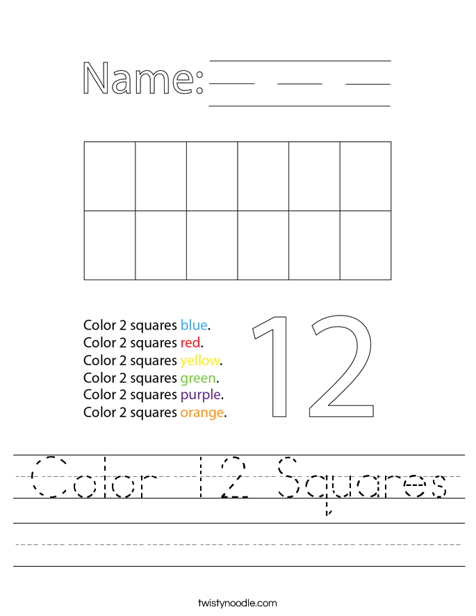 Color 12 Squares Worksheet