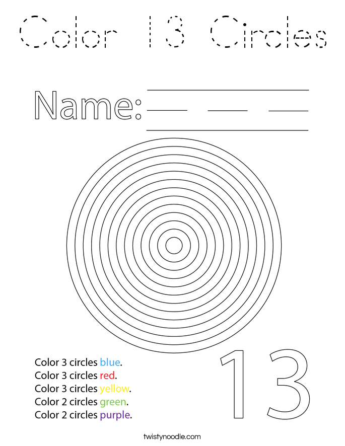 Color 13 Circles Coloring Page