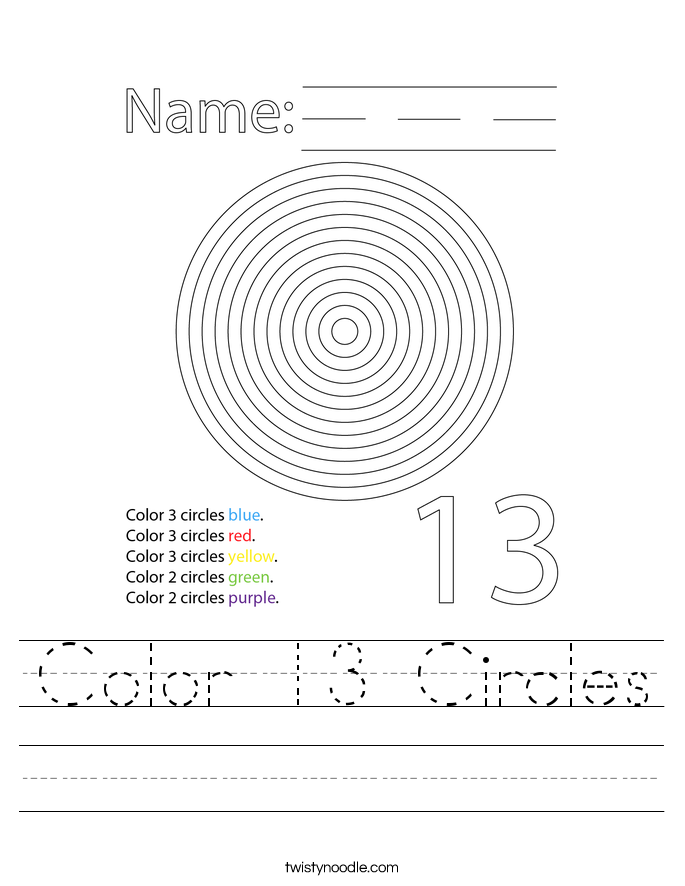 Color 13 Circles Worksheet