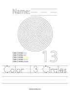 Color 13 Circles Handwriting Sheet