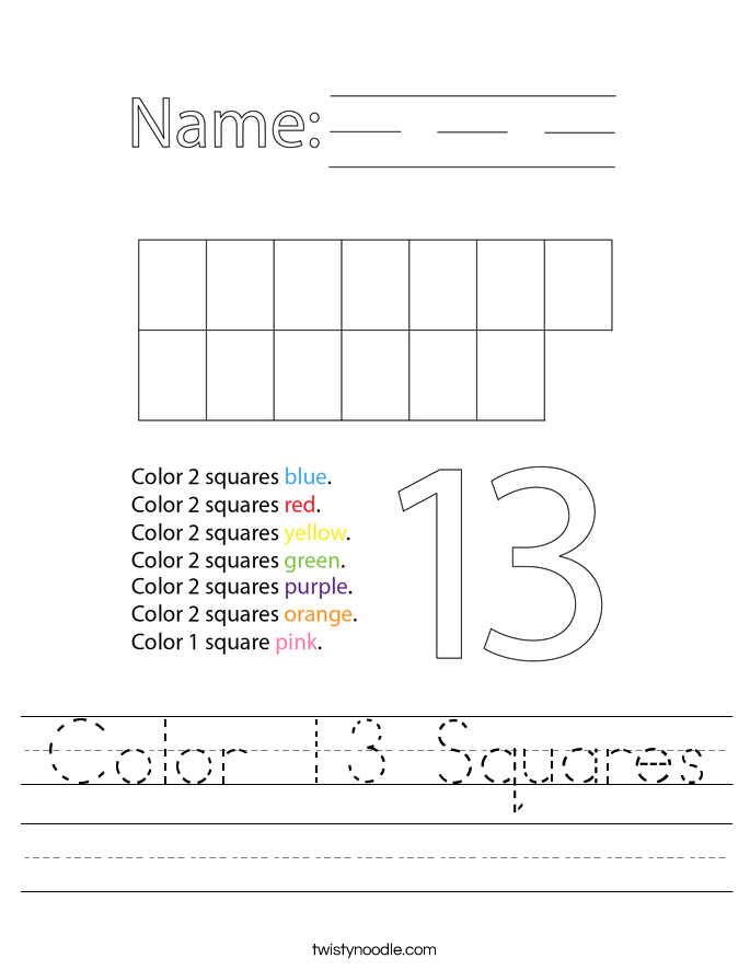 Color 13 Squares Worksheet